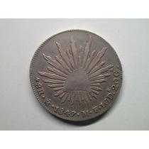 Moeda Mexico 8 Reales 1847 -mf- Mexico City Prata Raro