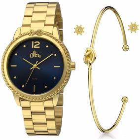 Relógio Allora Feminino Al2035fdq/k4a ( Pulseira + Brinco )