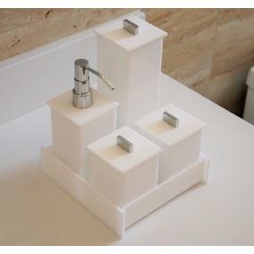 Kit Potes Em Acrílico Para Banheiro Lavabo 05 Pçs Branco