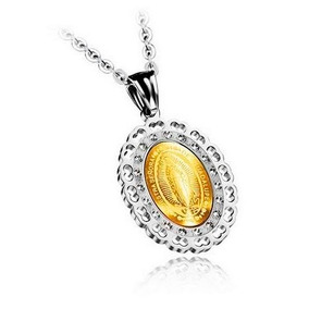 Hermosa Medalla Virgen Guadalupe Swarovski Element Baño Oro