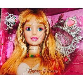 Cabeça Da Boneca Para Pentear E Maquiar C/ Acessórios