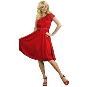 Rubies 60s 70s Disco Sexy Red Dress Traje Disfraz De Hallow