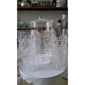 Juego Jarra + 6 Vasos Acrilico Cocina Diseño Bebida Jardin