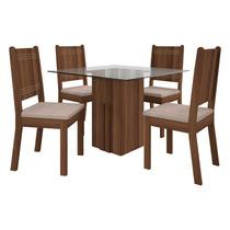 Conjunto De Mesa Armonia Tampo Quadrado 1,00m Com 4 Cadeiras