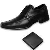 Sapato Social Diplomata Masculino Em Couro + Carteira