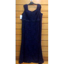 Vestido Longo Plus Size Azul Tamanho 52