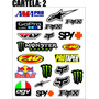 Cartela Adesivo Go Pro Fox Agv Alpinestars Rockstar Fmf
