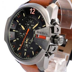 Relógio Diesel Masculino Dz4343 Mega Chief Couro Marrom