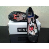 Sapatilha Infantil Tipo Melissa - Minnie E Mickey Com Caixa