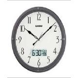Reloj Casio De Pared/aguja/mes Dia, Hora Digital/gris