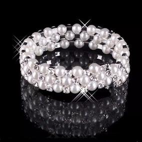 Novia Brazalete Perlas Cristales Elegante Regalo Quinceañera