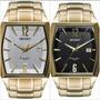 Relógio Orient Masculino Grande Quadrado Dourado Ggss1014