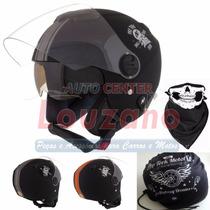 Capacete Aberto Pro Tork New Atomic Skull Riders + Bandana