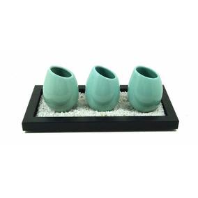 Bandeja + Piedras + 3 Floreros Decoracion Ceramica Regalo