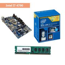 Kit Processador Intel I7 4790 Placa Mãe H81 Memória Ddr3 8gb