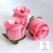 50 Forminhas Para Doces Finos Flor Botao Rosa Luxo F043 -