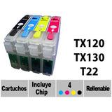 4 Cartuchos Recargables Para Epson Stylus T22 Tx120 Tx130