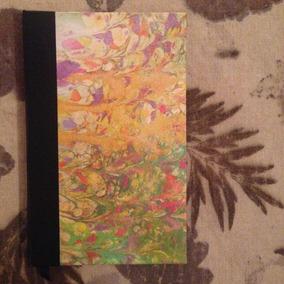 Cuaderno Artesanal Cosido A Mano . Tapa Papel Marmolado