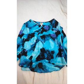 Nueva Blusa De Gasa Azul Elegante Mujer Talle S Importada