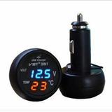 3 Em 1 Voltímetro Temperatura & Usb - Automotivo Tuning