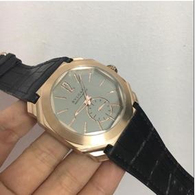 Relógio Bv Dourado Pulseira De Couro Preta Frete Grátis
