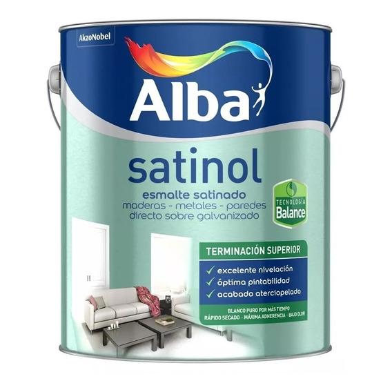 Esmalte Sintético Satinado Al Agua Satinol Alba Balance Negro 0.5l Mm