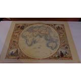 Lámina Reproducción Mapa Antiguo Hemisferio Oriental