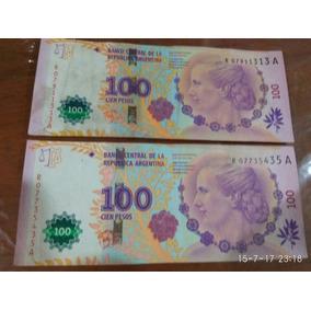 Dos Billetes De Evita De Reposición