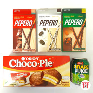 Kit Com 4 Biscoitos/doces Coreanos + 1 Suco De Uva Coreano