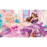 Painel Aniversário Barbie A Princesa E A Pop Star 160x94cm