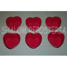 *kit De 6 Capacillos De Silicon Corazon Cupcakes Fondant*