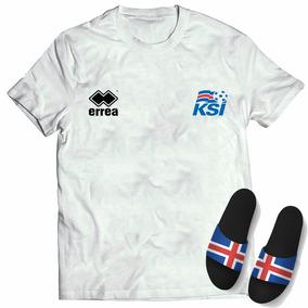 Kit Camisa + Chinelo Slide Seleção Islândia Copa Do Mundo
