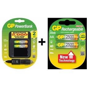 Baterias Recargables 2500mah X 4 Gp Mas Cargador Casa Carro