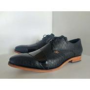 Zapatos De Cuero De Hombre De Vestir Cocodrilo Charol Negro