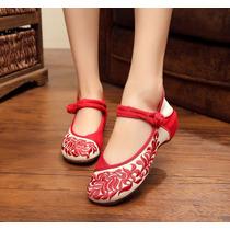 Zapatos Flat Bordado Danza Baile Ballerina Ballet Primavera