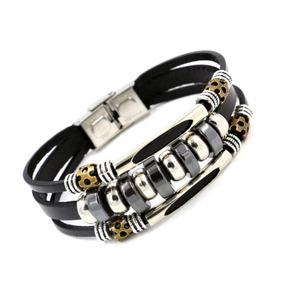 Pulseira Masculina Couro Legitimo Pingentes Bracelete Luxo