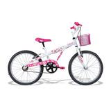Bicicleta Infantil Feminina Caloi Aro 20 Ceci Branco/rosa