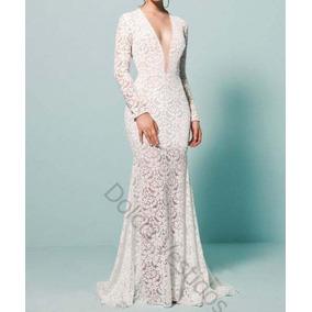 Vestido De Noiva Em Renda, Decote Em Tule E004q