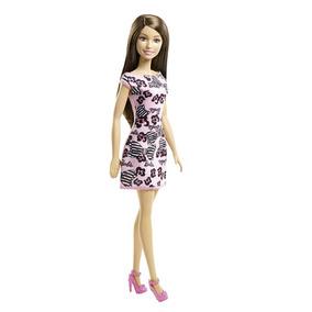Barbie Basica Surtido Vesrtido Rosa Con Moños