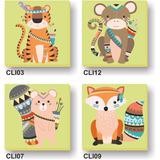 4 Cuadritos Lienzo 20x20cm Infantiles Animales Oso Tigre Etc