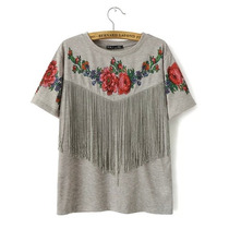 Remera Manga Corta Modelo Flower Grey