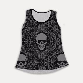 Regata Feminina Caveira Skull Arabesco Estampada Cool Tumblr