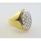 .anillo Sello Oro 18k Full Diamantes Brillante - Hombre