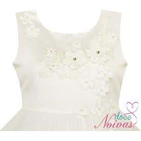 Vestido Daminha Florista Off White Flower
