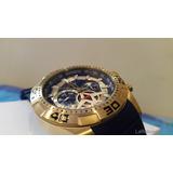 Reloj Hombre Invicta Aviator Azul Enchape Oro 18k 21737