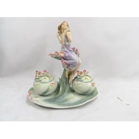 Porta Joias Com Mulher Em Porcelana Art Nouveau Unicorn Raro