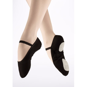 Zapatillas Ballet Media Punta Lona 22 A 33 Negro So Danca