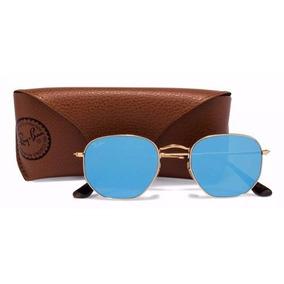 Rayban Hexagonal Azul Espelhado Ray Ban Round - Óculos De Sol no ... 1525cbfafb