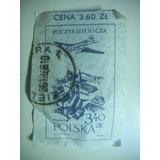 Porte Postal Polônia - Avião Sobre Prédios - 3,60 Zlt - 1957