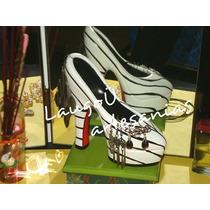 Zapato Souvenirs 15 Años Modelo Cebra Porta Cosméticos